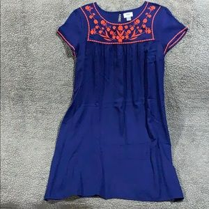 Navy blue dress with Orange embroidery